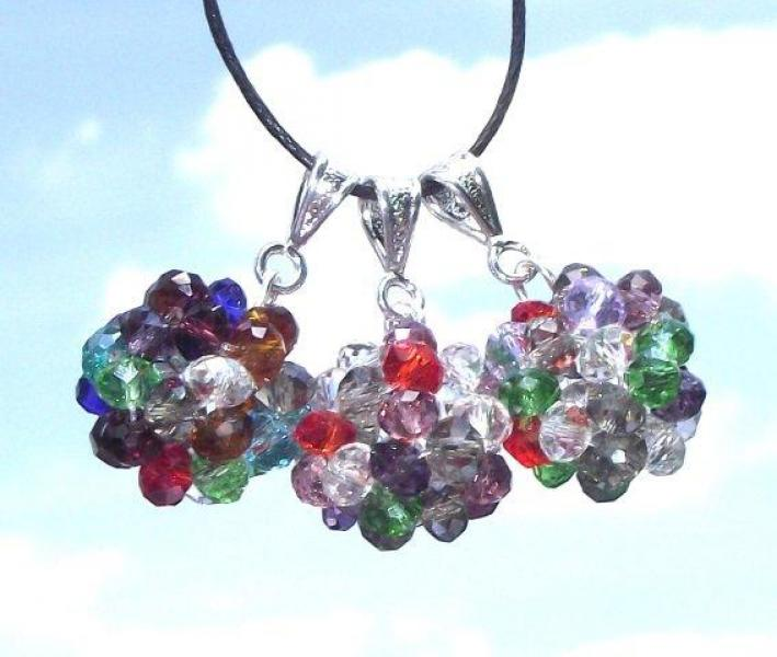 Beautiful Chakra Crystal Cluster Pendant with Black Thong